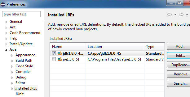 Setting up the JDK as the default JRE in Eclipse Mars