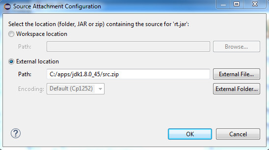 The source attachment configuration dialog