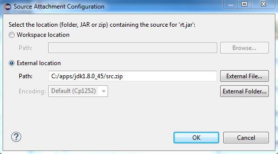 The source attachment configuration dialog
