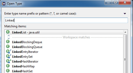 The Eclipse Open Type dialog