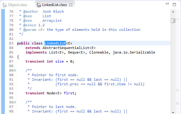 the Eclipse editor showing the source code for LinkedList.java